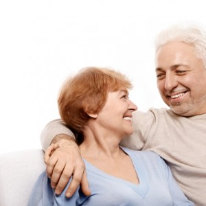 Elderly Couple on white bkgrnd